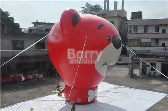 Oxford Red Bear Inflatable Ground Balloon For Advertising 8.5m Height